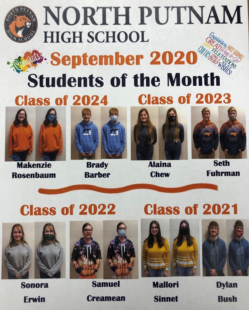 NPHS September Students of the Month