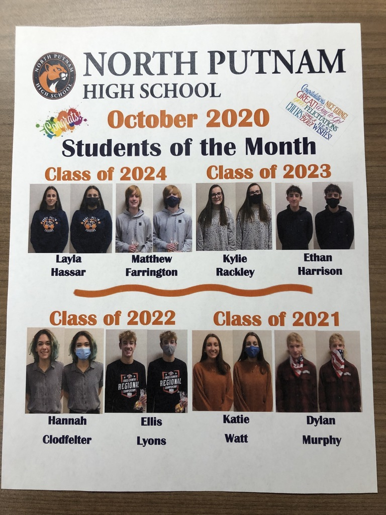 NPHS Students of the Month for October
