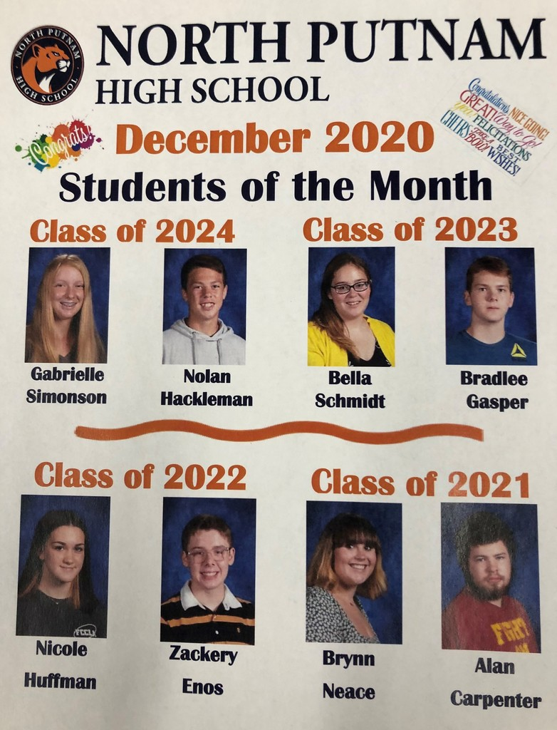 NPHS Students of the Month for December