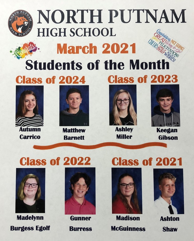NPHS Students of the Month