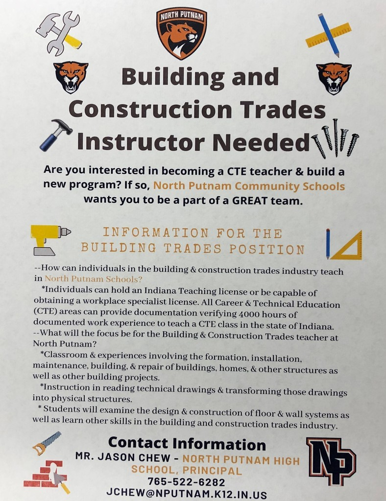 Building & Construction Trades Instructor Needed